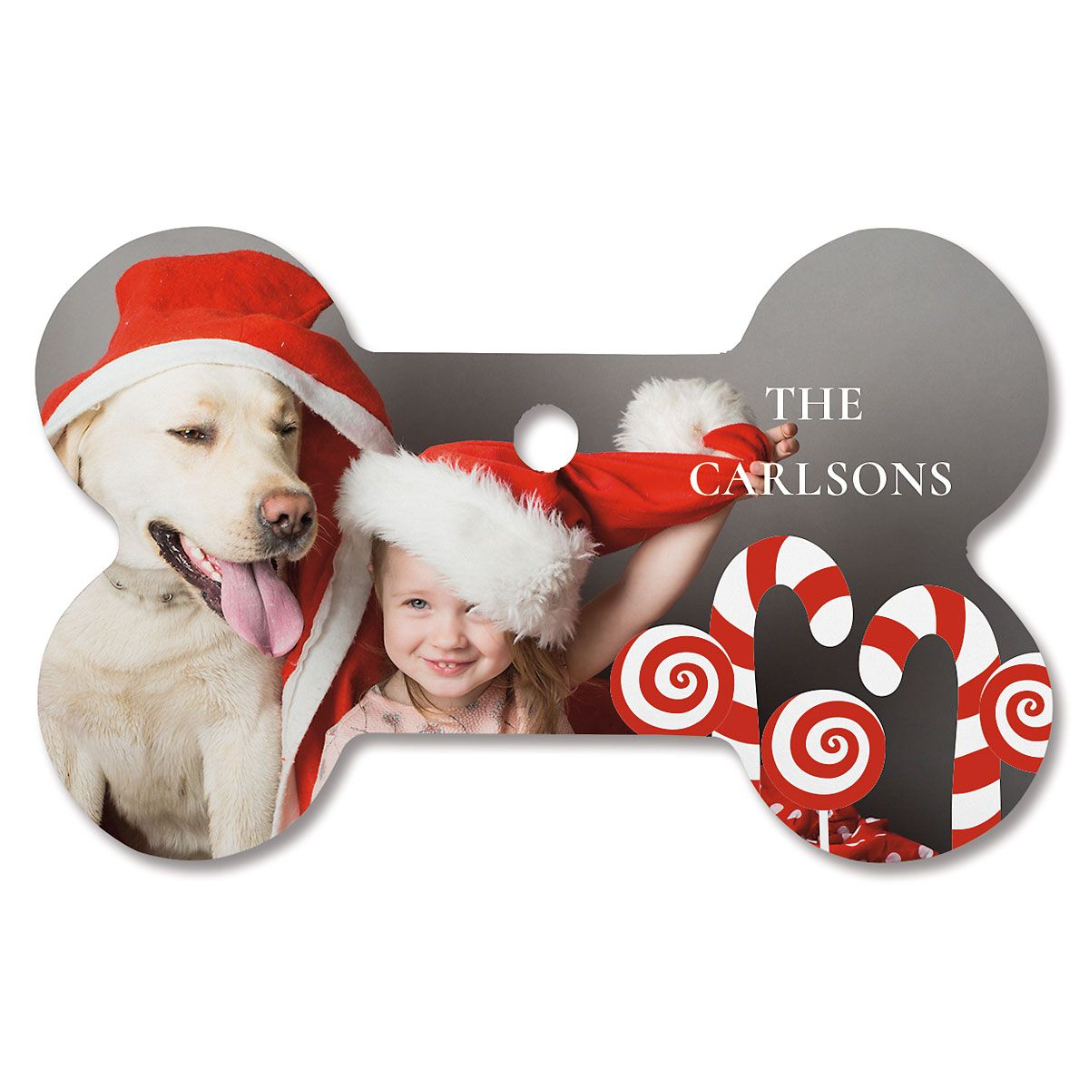 Candy Cane Personalized Photo Ornament - Bone