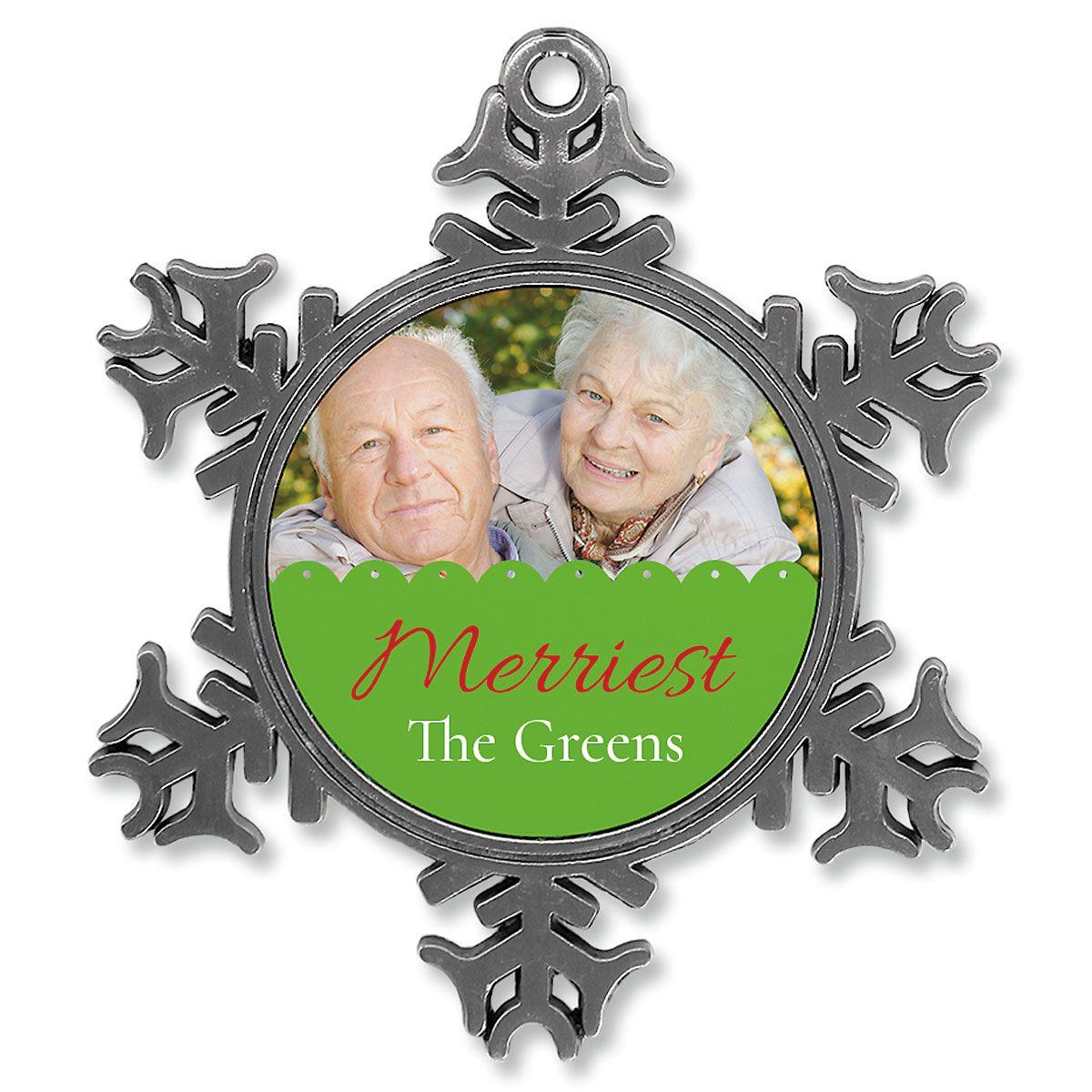 Scallop Photo Ornament - Metal Snowflake