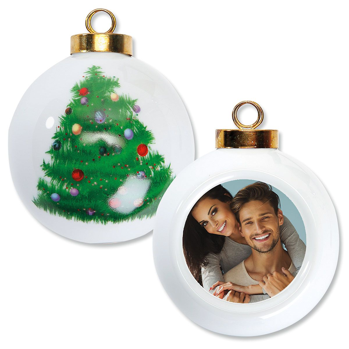 Full Personalized Photo Ornament - Round Tree