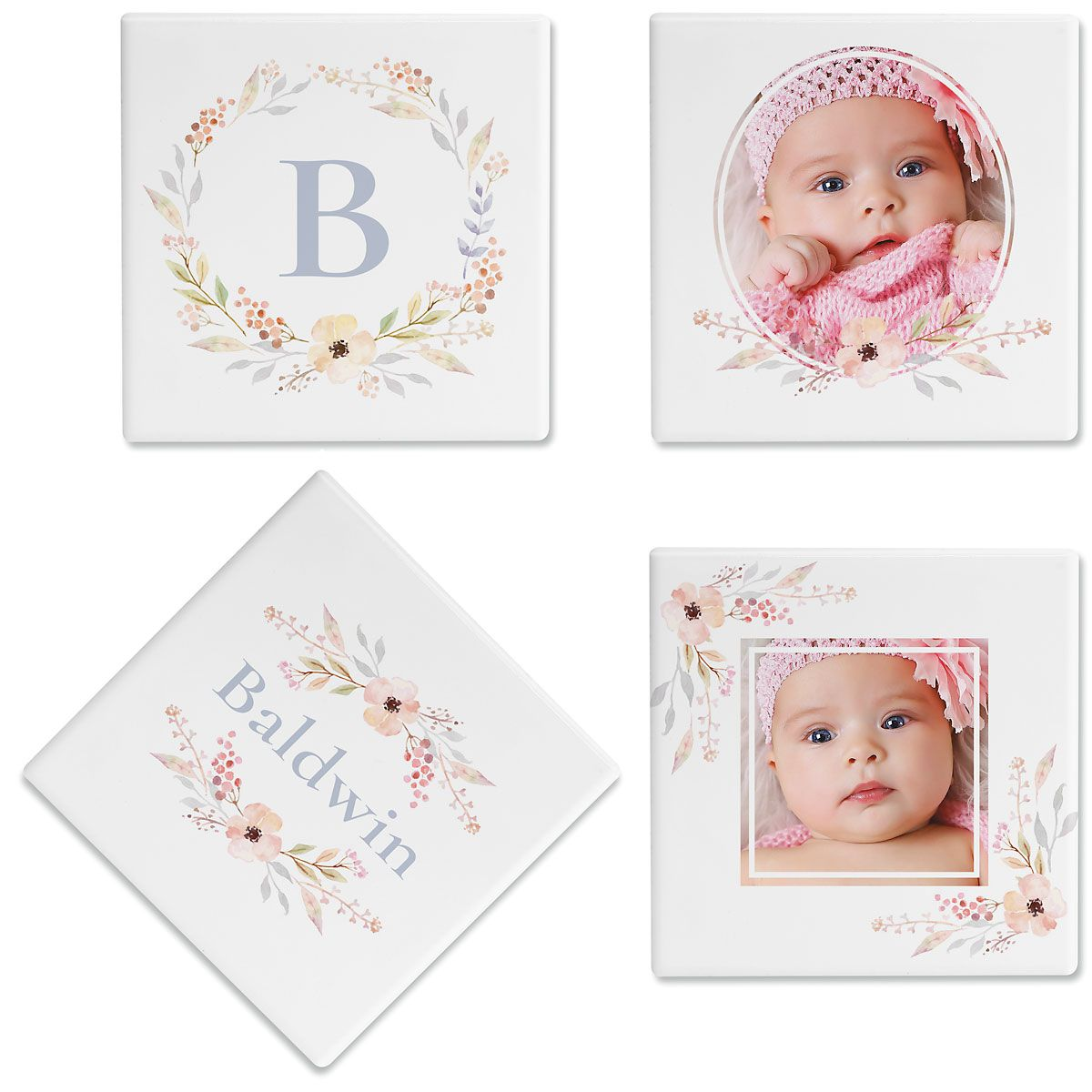 Floral Frame Personalized Photo Coasters