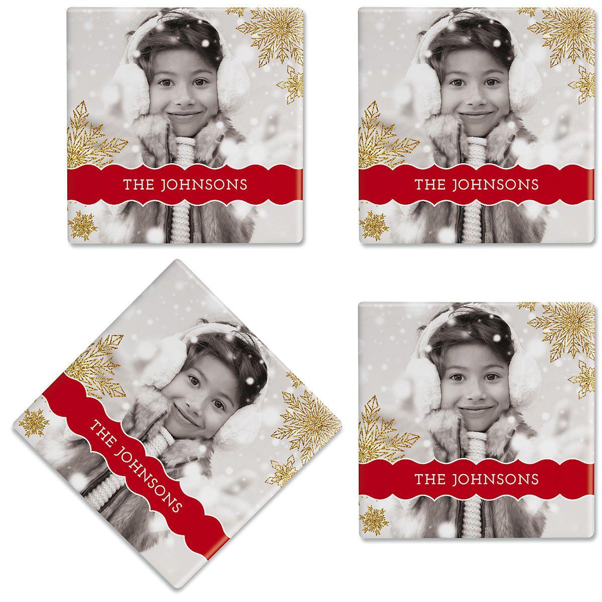 Glitter Snowflake Personalized Photo Coasters