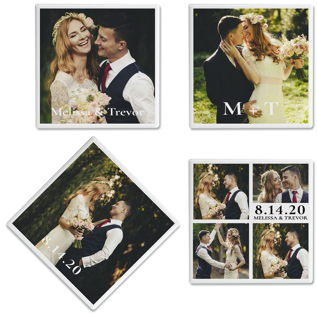Nuptial Personalized Photo Coasters