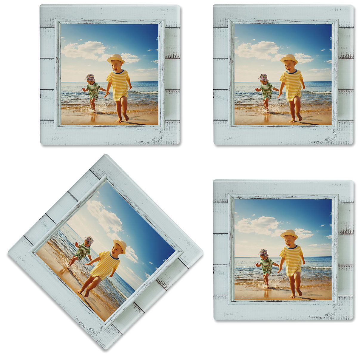Rustic Blue Shiplap Frame Personalized Photo Coasters