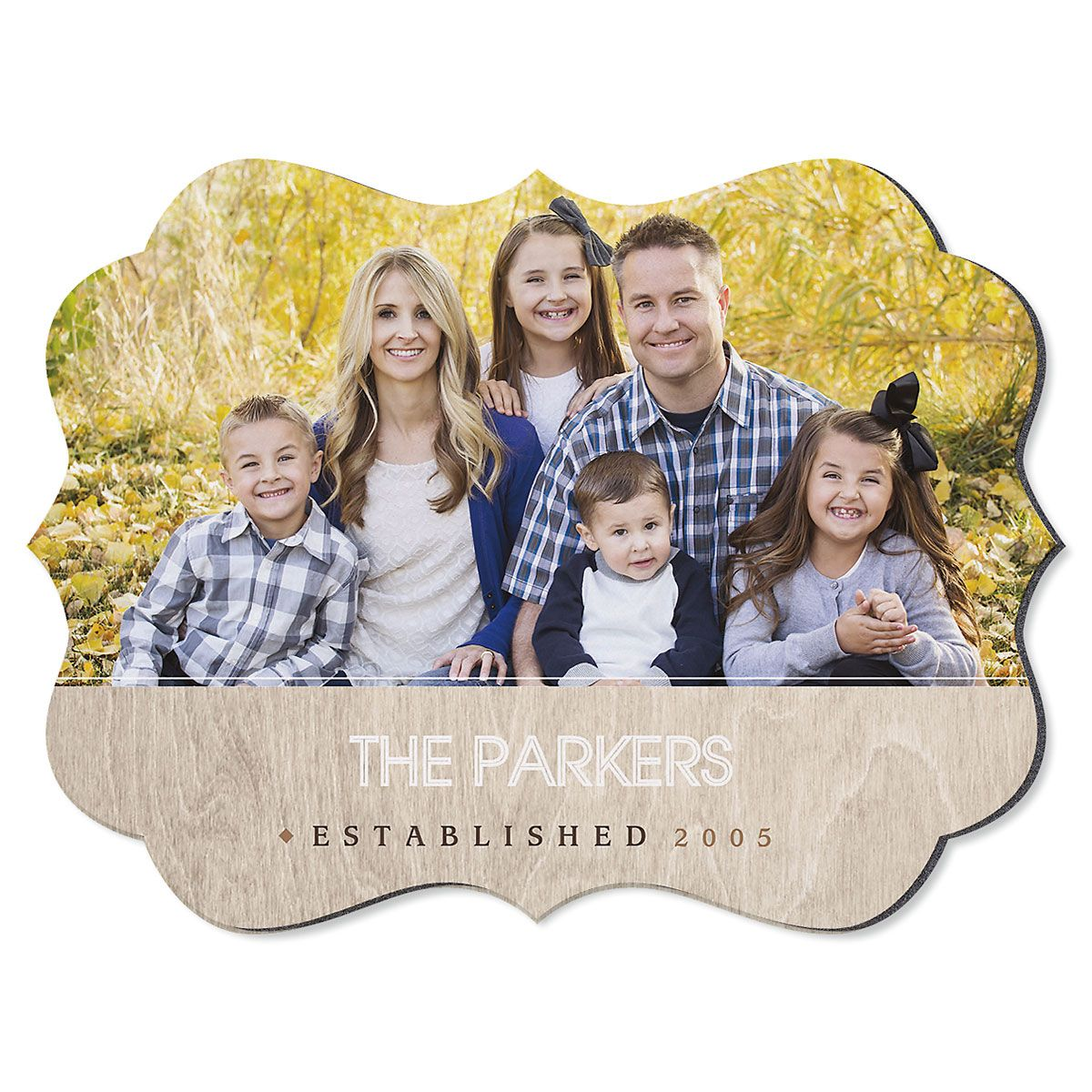 Light Wood Family Name Benelux Personalized Photo Plaque