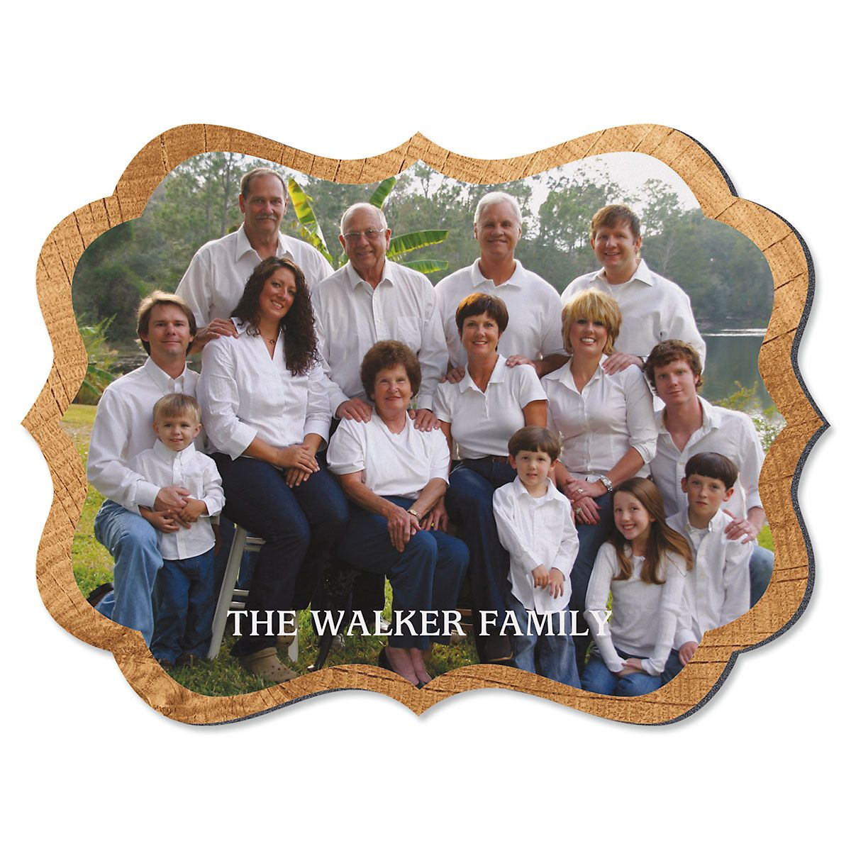 Midtone Wood Family Name Benelux Personalized Photo Plaque