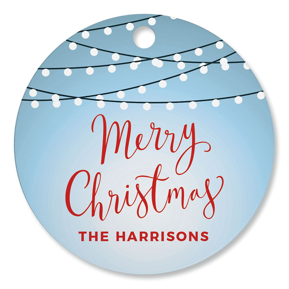 Christmas Lights Personalized Circle Ornament
