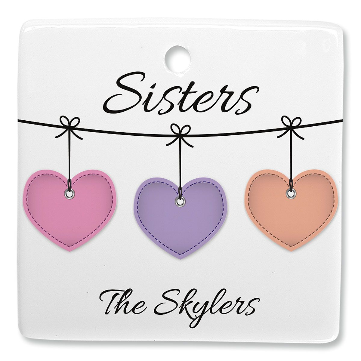 Sister Hearts Personalized Square Ornament