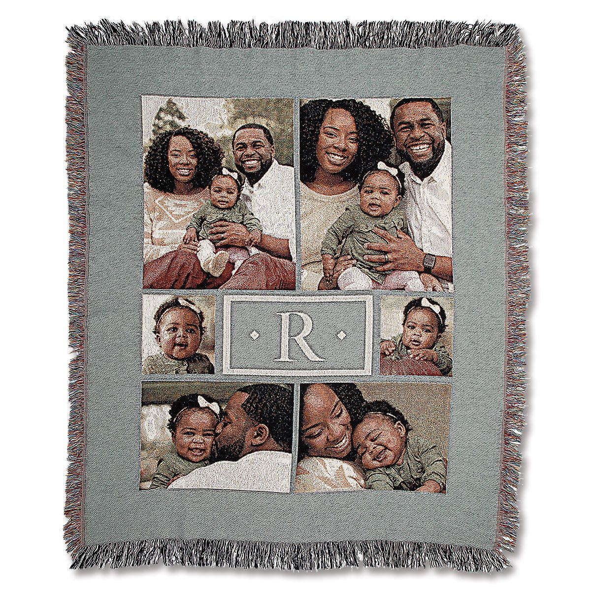 Woven Monogram Photo Throw