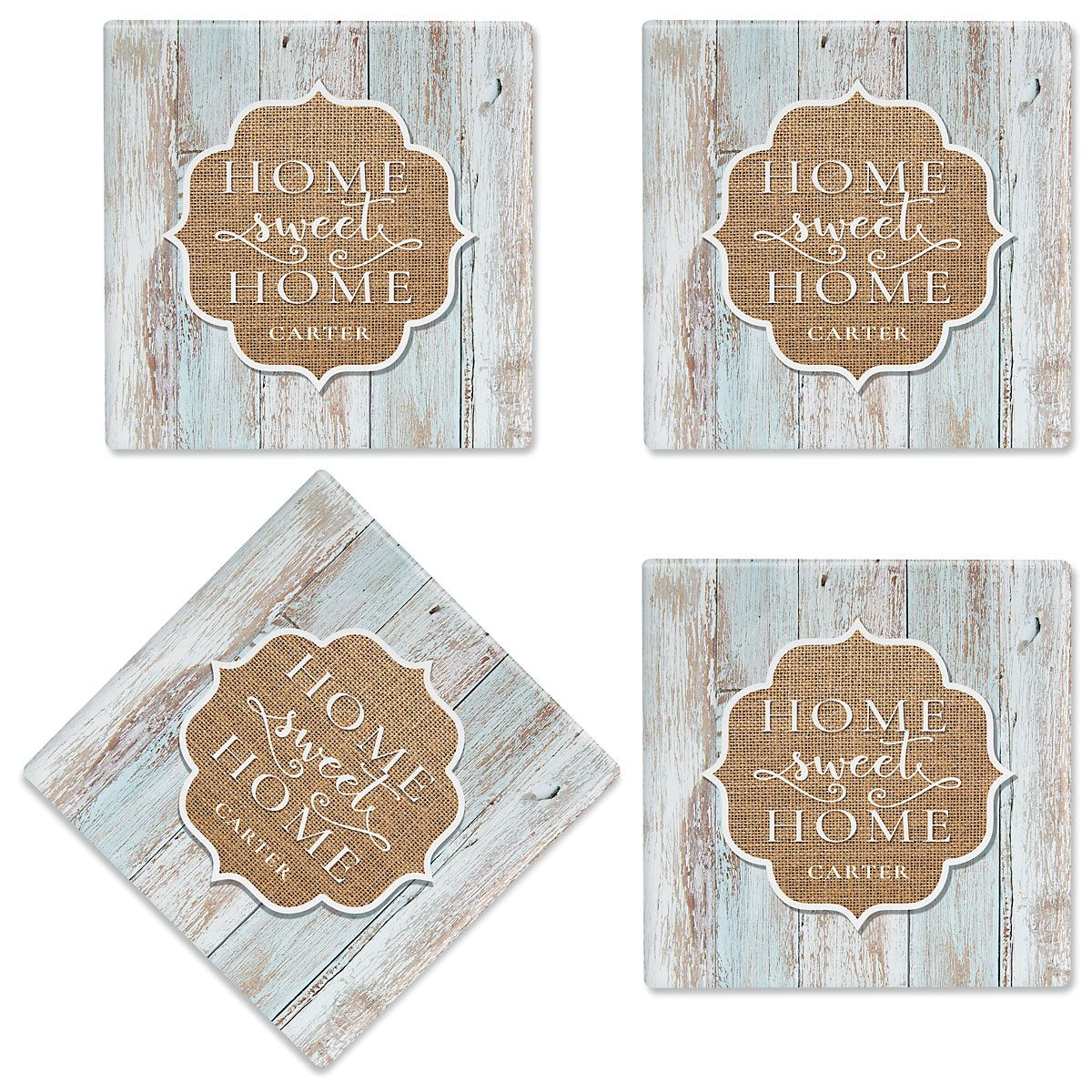Home Sweet Home Personalized Ceramic Coasters