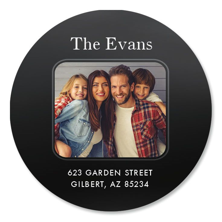 Modern Round Photo Personalized Address Labels