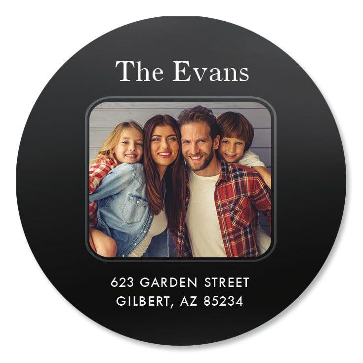 Modern Round Photo Address Label