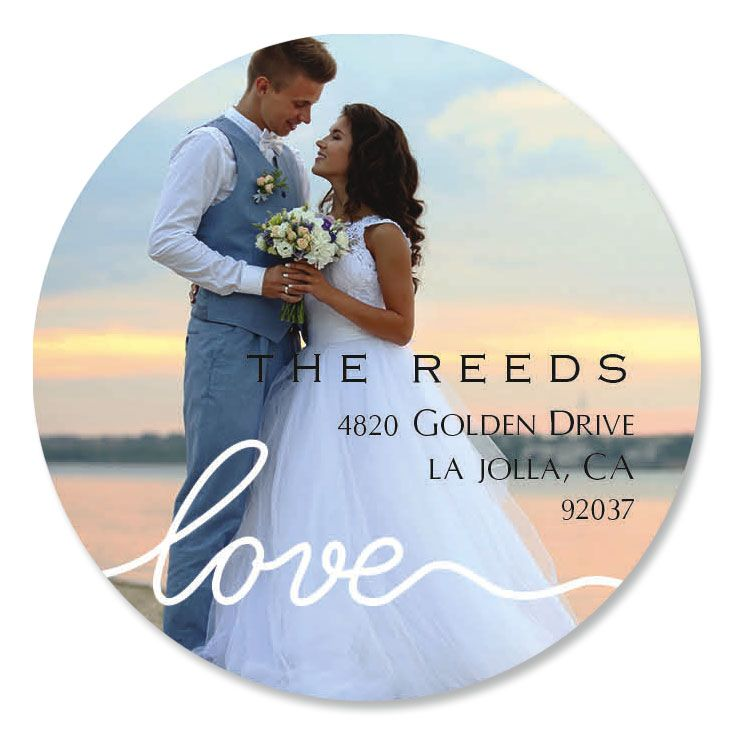 Love White Caption Round Photo Personalized Address Labels