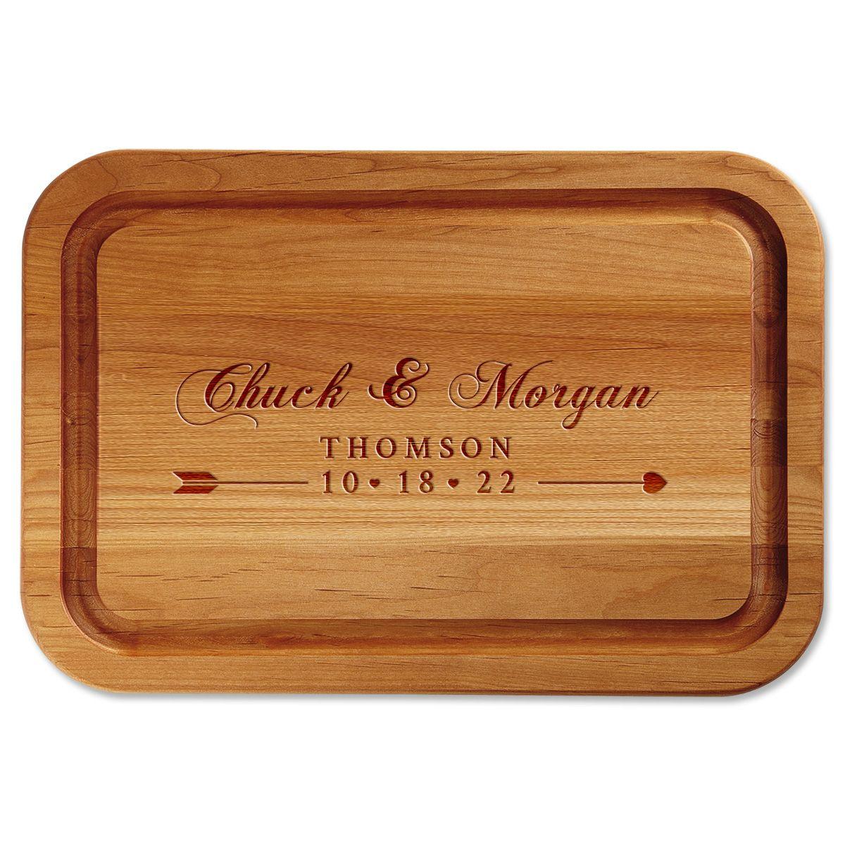 Heart Bow Arrow Engraved Wood Cutting Board