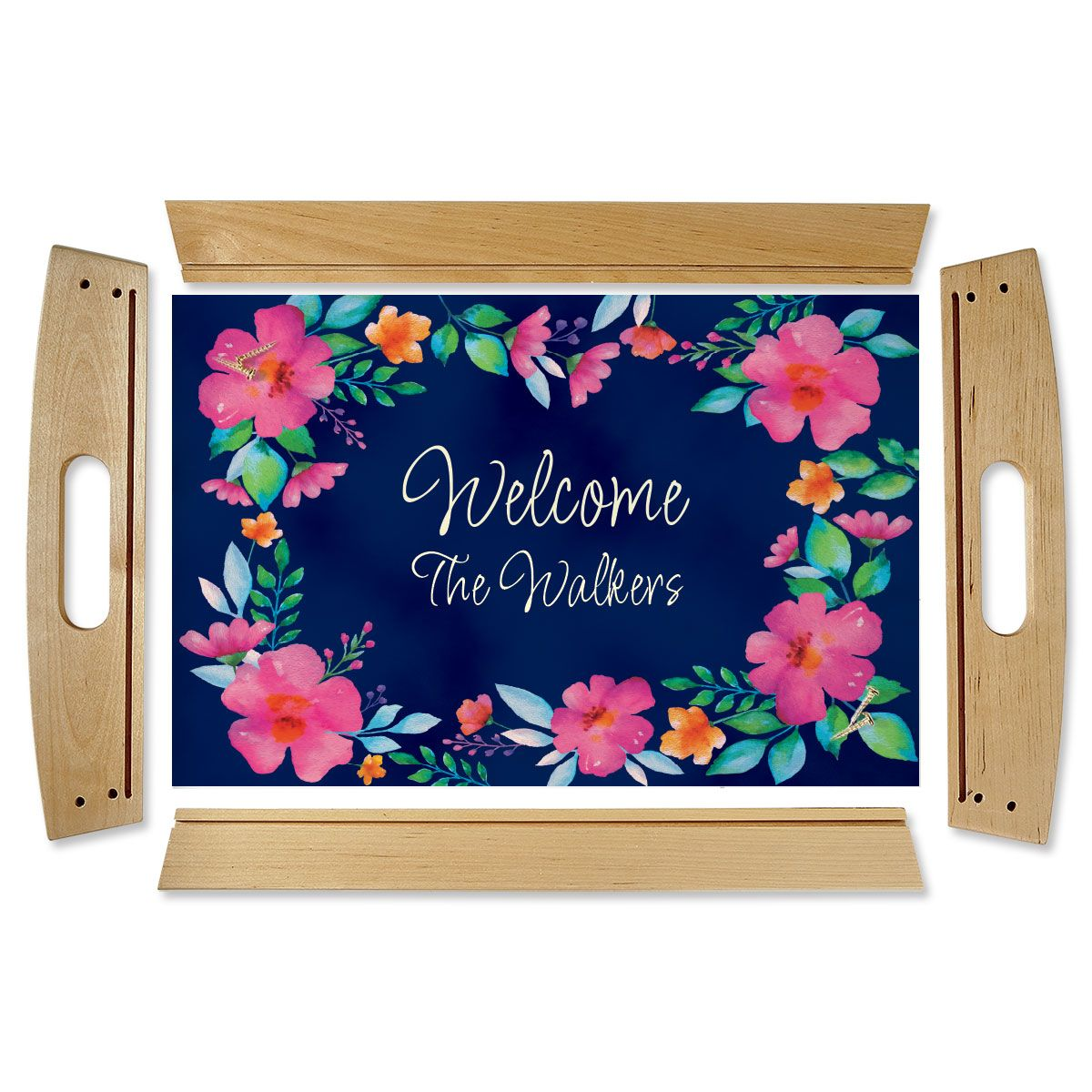 Floral Family Name Natural Wood Personalized Serving Tray