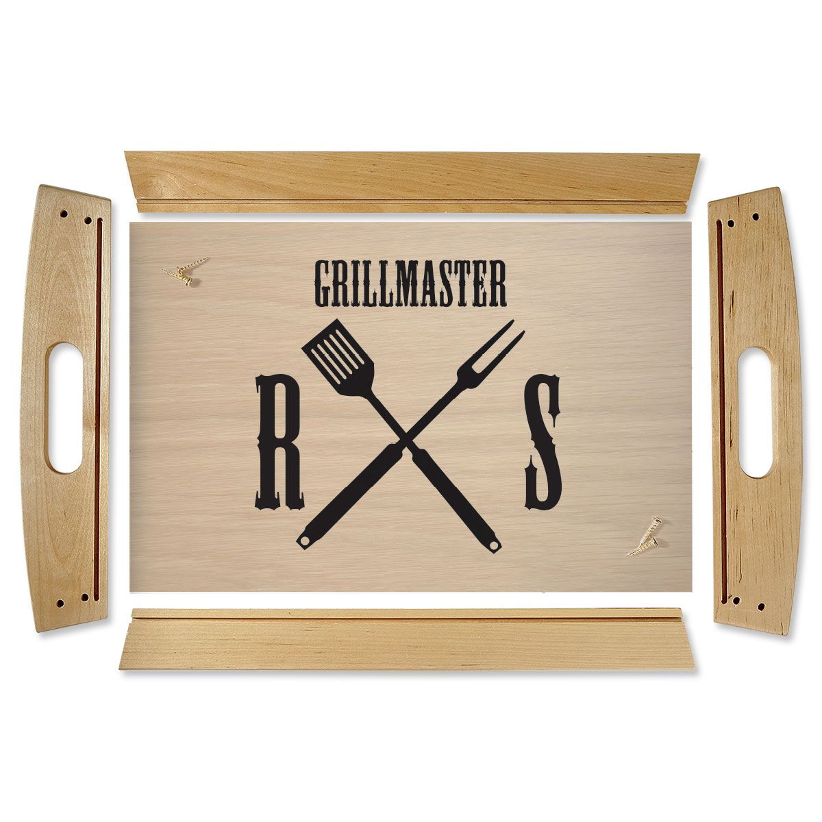 Grillmaster Natural Wood Personalized Serving Tray