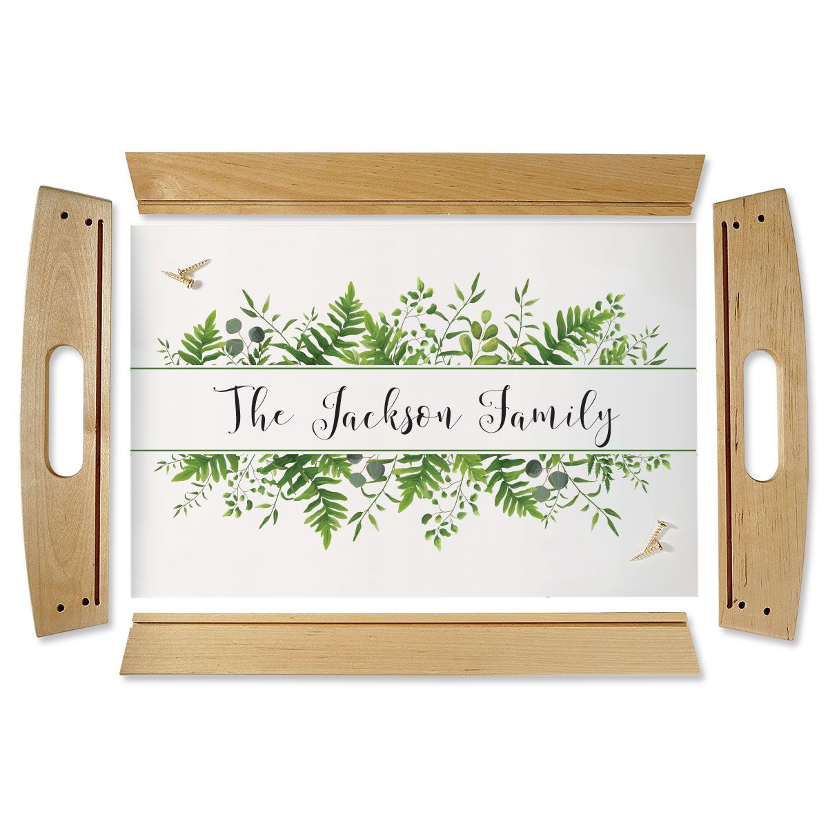 Family Name & Greenery Natural Wood Personalized Serving Tray