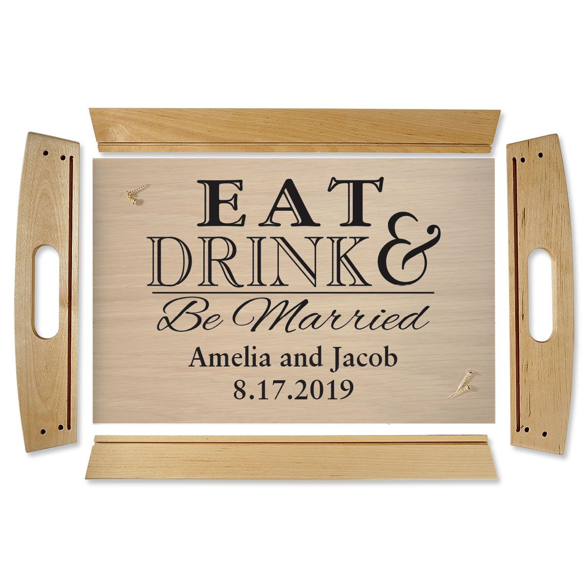 Eat Drink & Be Married Natural Wood Personalized Serving Tray