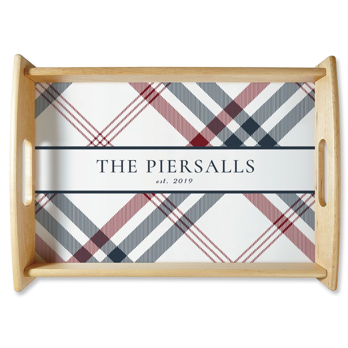 Plaid Natural Wood Personalized Serving Tray