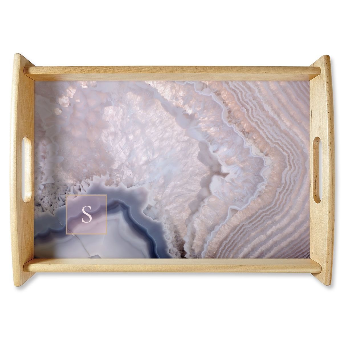 Initialed Agate Natural Wood Personalized Serving Tray