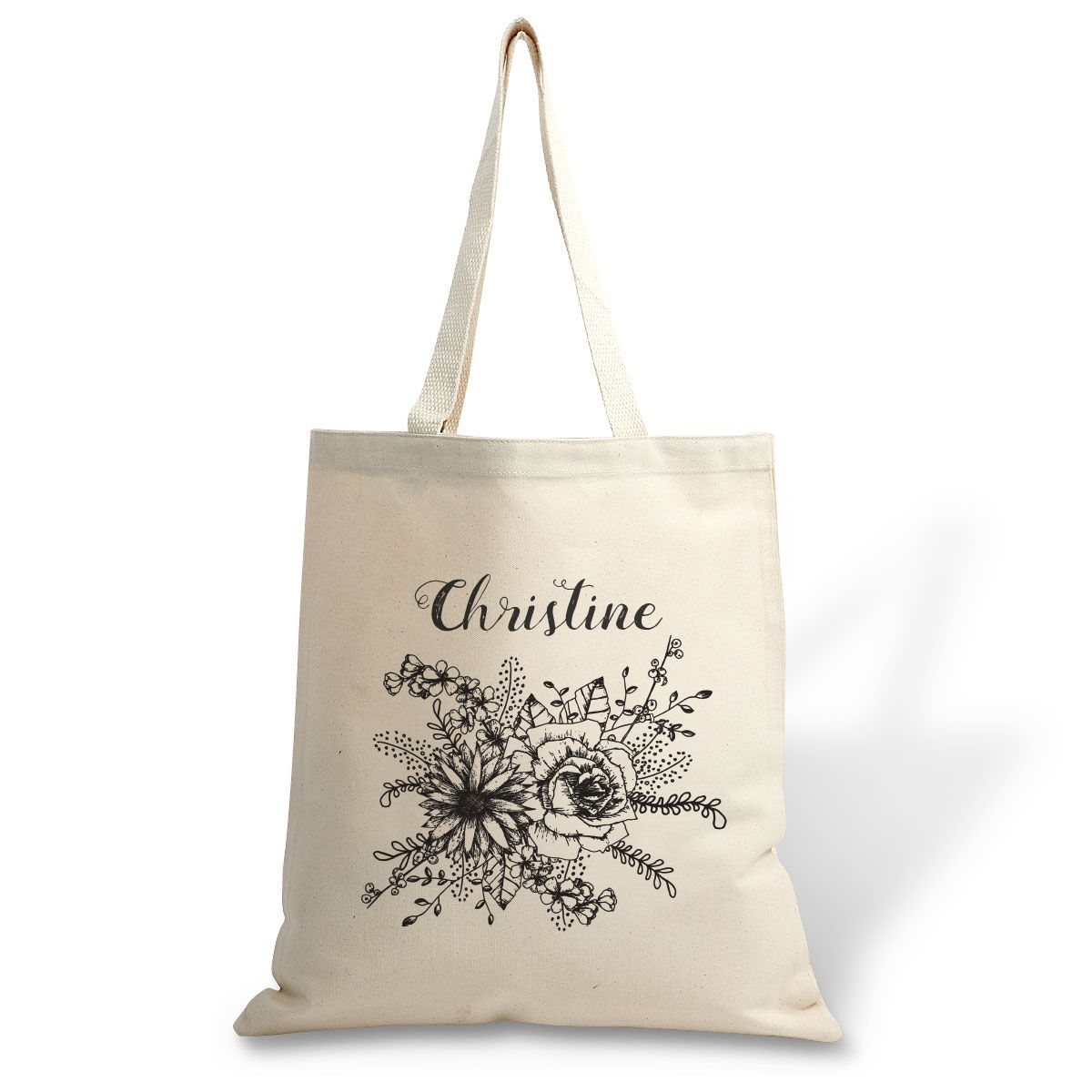 Personalized Floral Name Canvas Tote