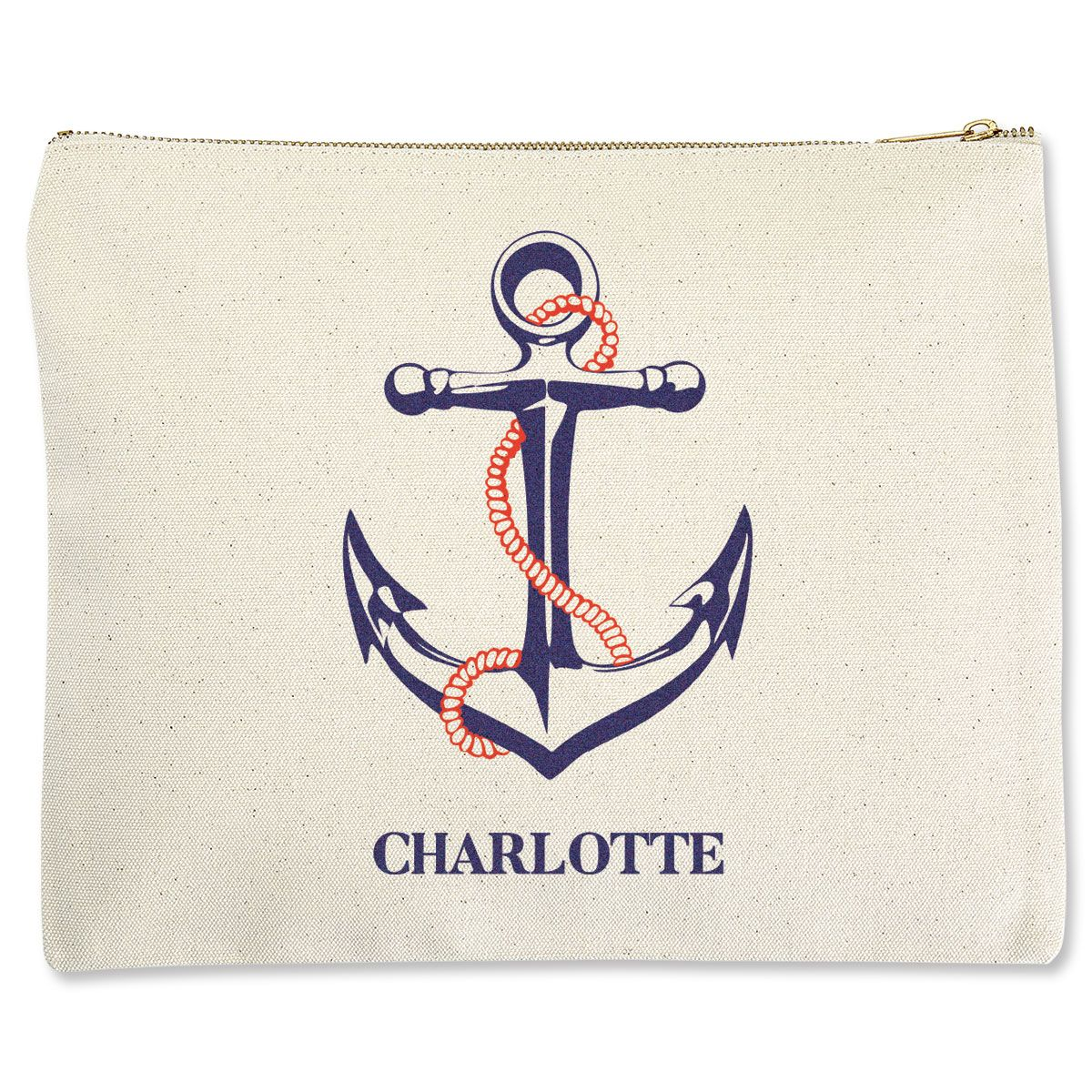Personalized Anchor Zippered Pouches