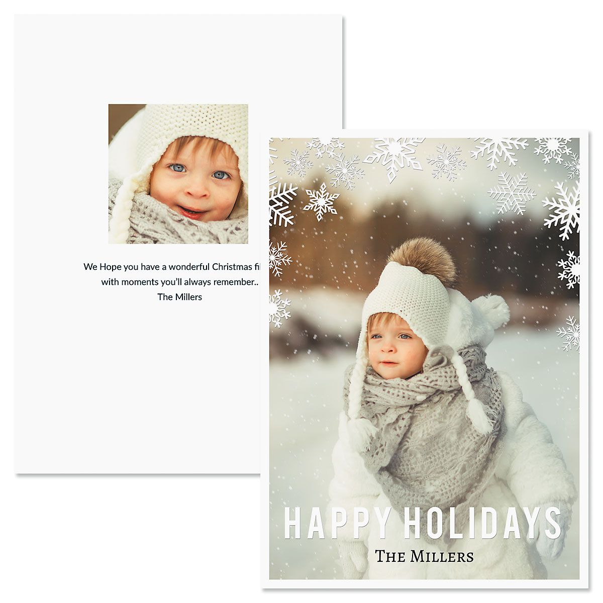 Snowflake Personalized Photo Christmas Cards