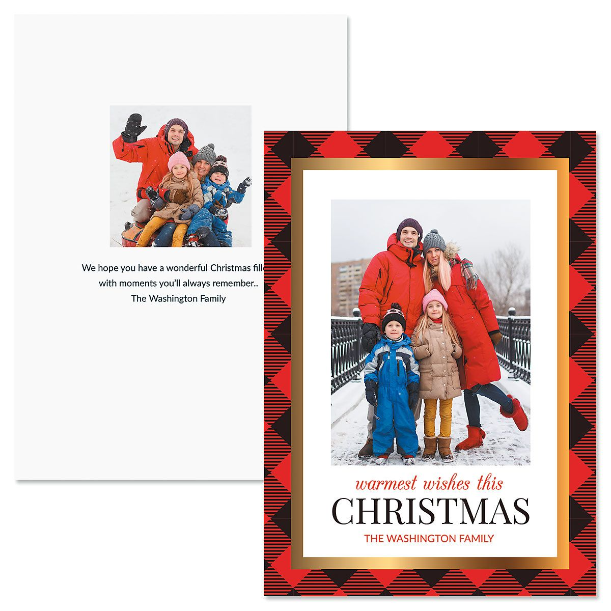 Red Buffalo Check Personalized Vertical Photo Christmas Cards