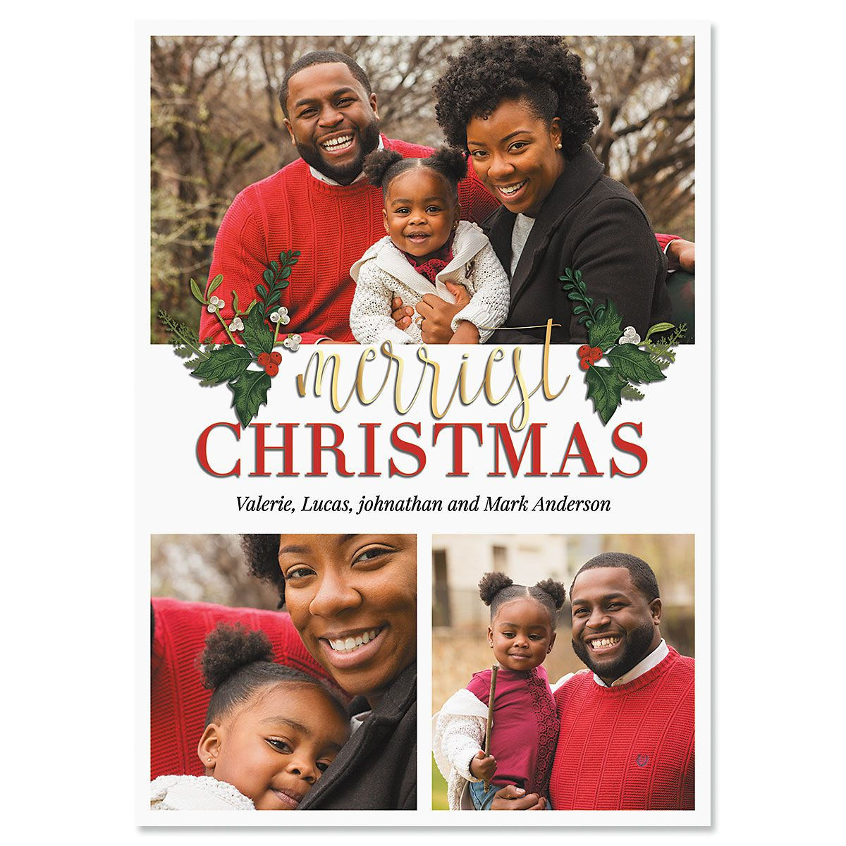 Greetings Personalized 3-Photo Christmas Cards