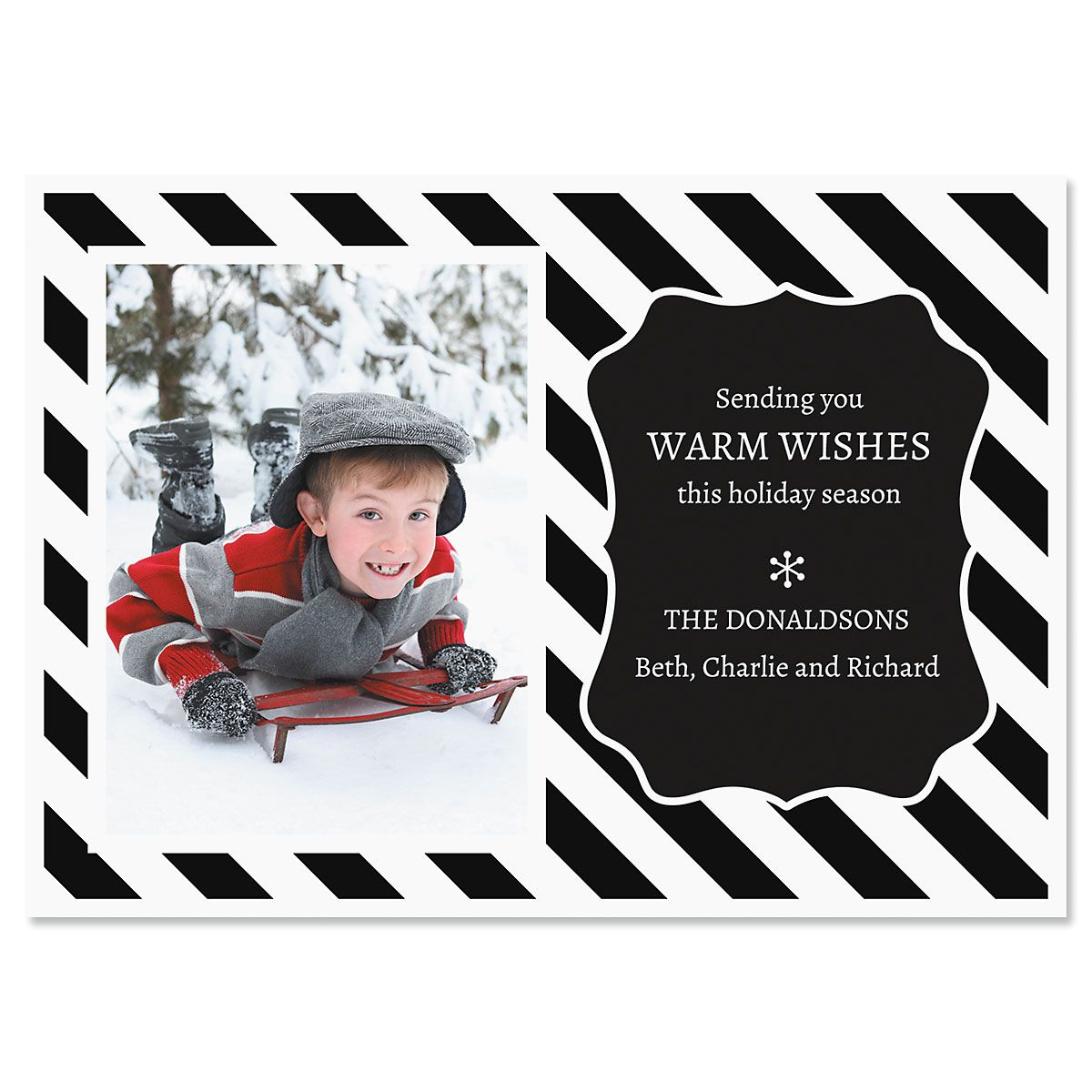 Black and White Stripe Personalized Photo Christmas Cards