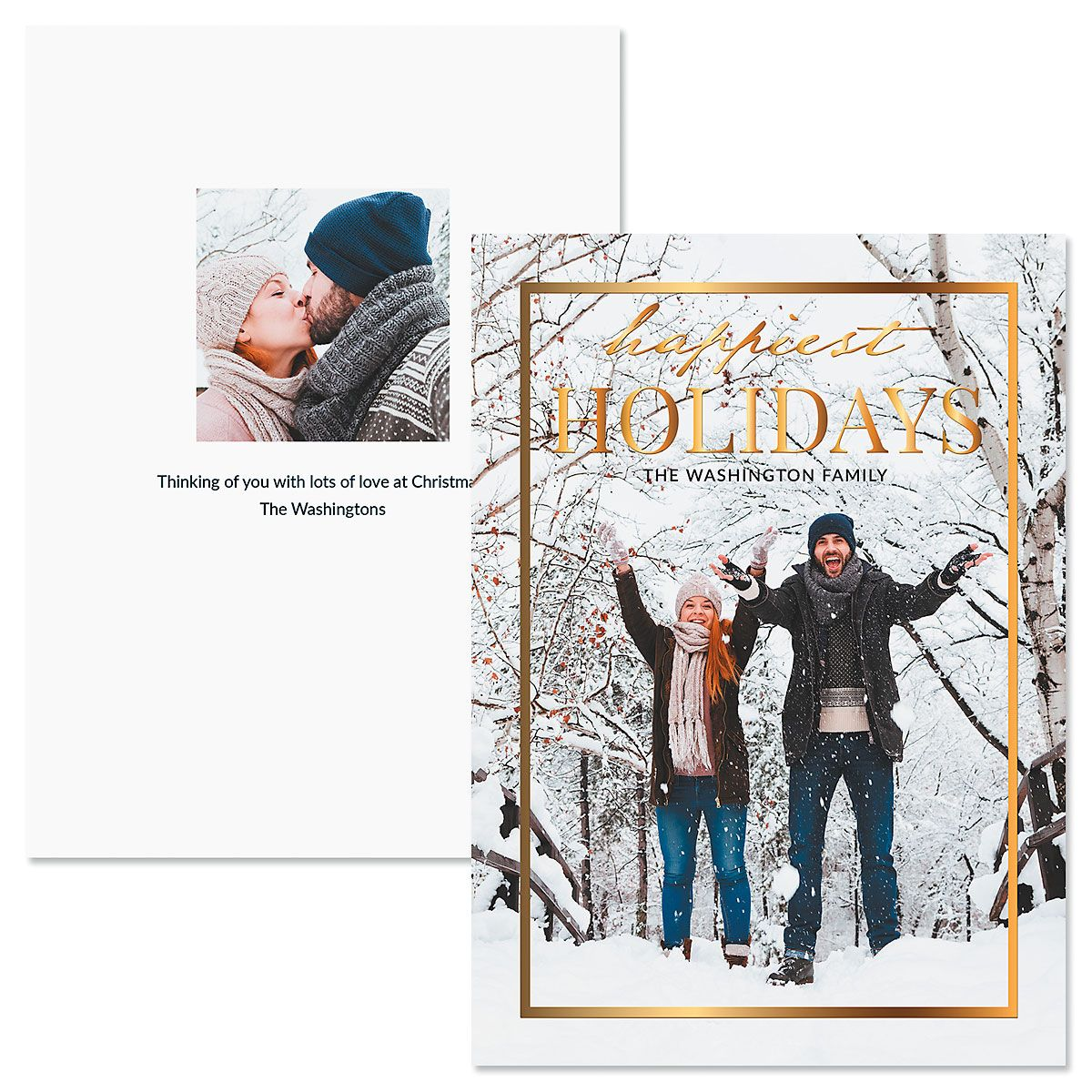 Gold Frame Vertical Personalized Photo Christmas Cards