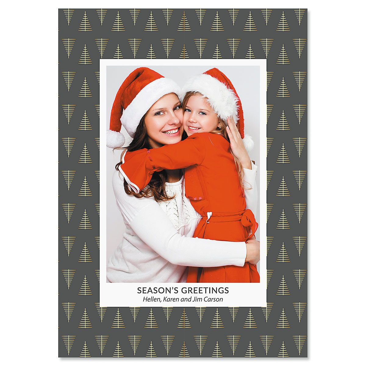 Modern Tree Personalized Photo Christmas Cards