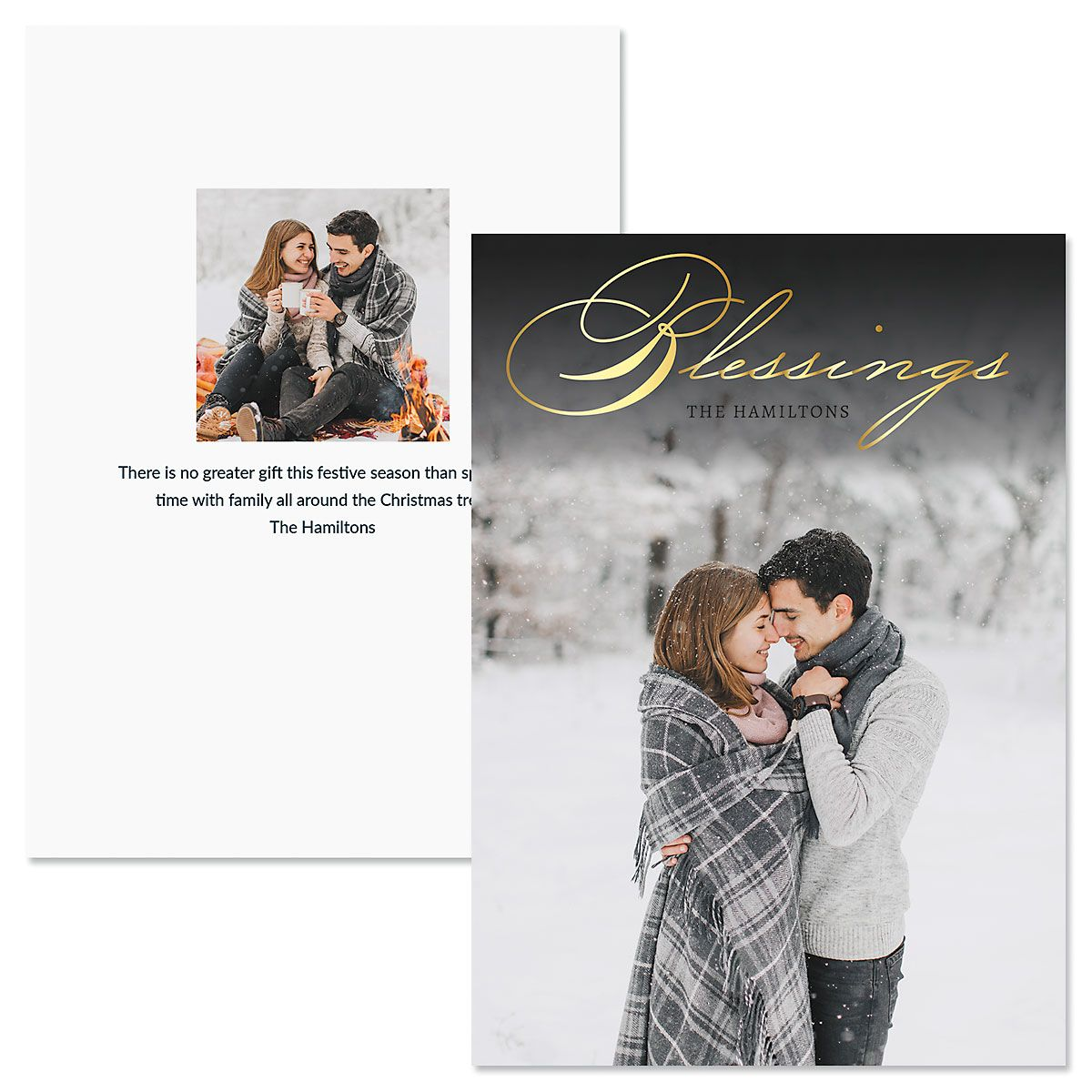 Blessings Vertical Personalized Photo Christmas Cards