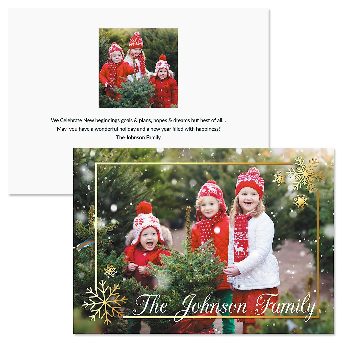Golden Snowflake Horizontal Personalized Photo Christmas Cards