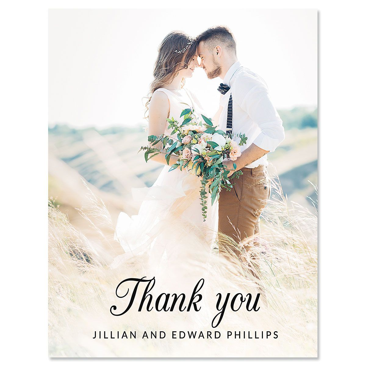 Vertical Script Thank You Photo Note Cards