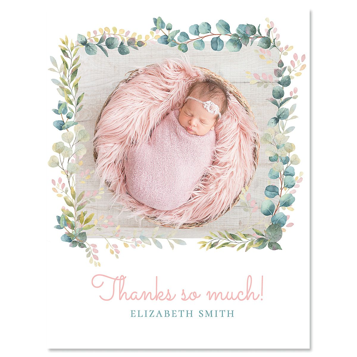 Botanical Thank You Photo Vertical Note Cards