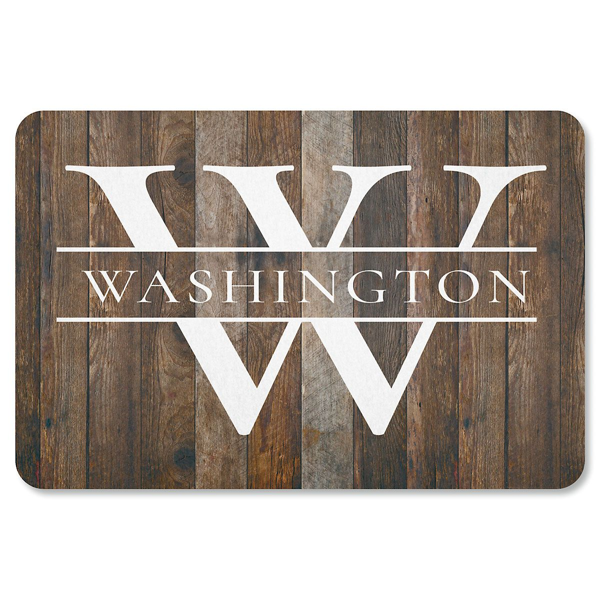 Wood-Grain Personalized Doormat
