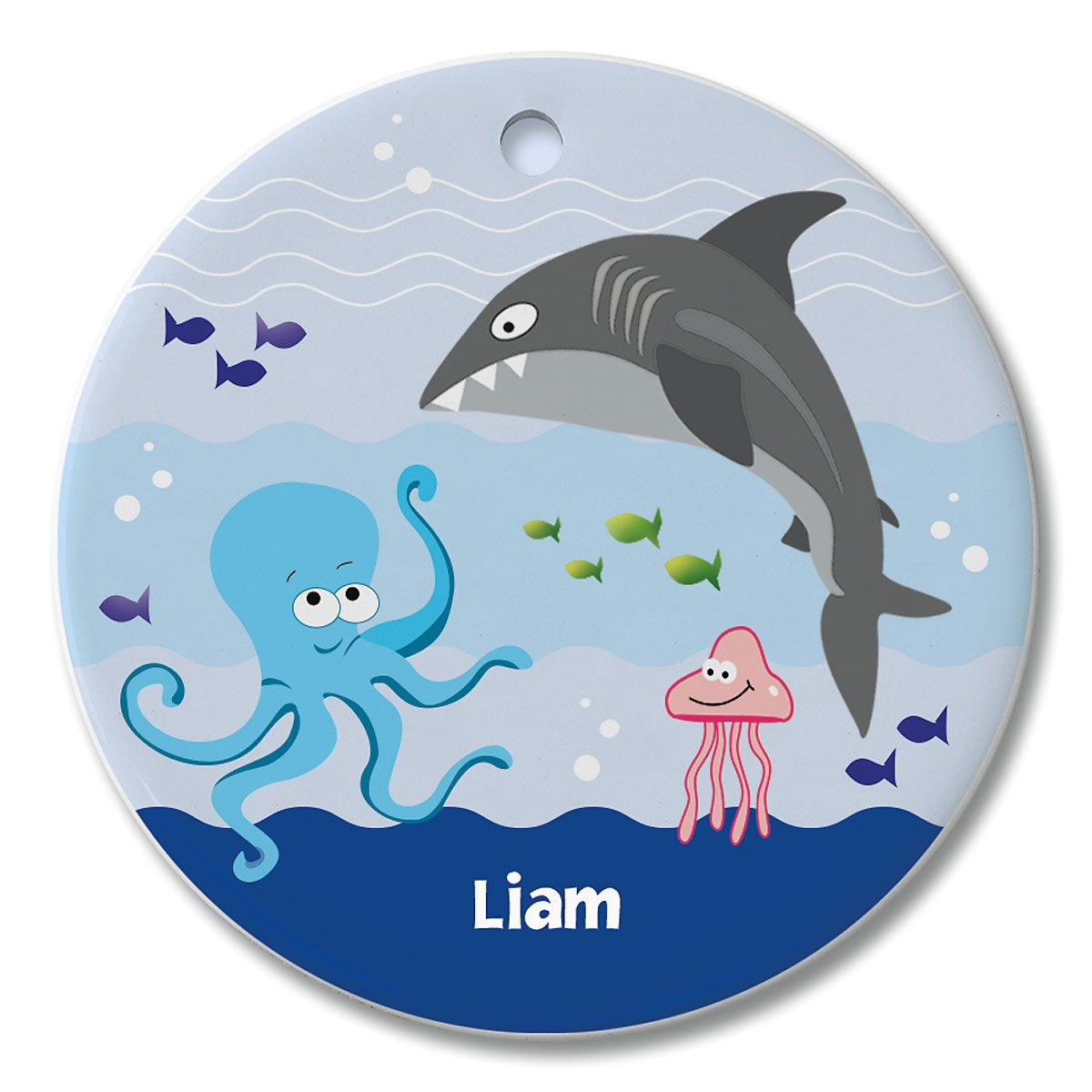 Round Personalized Under the Sea Ceramic Ornament