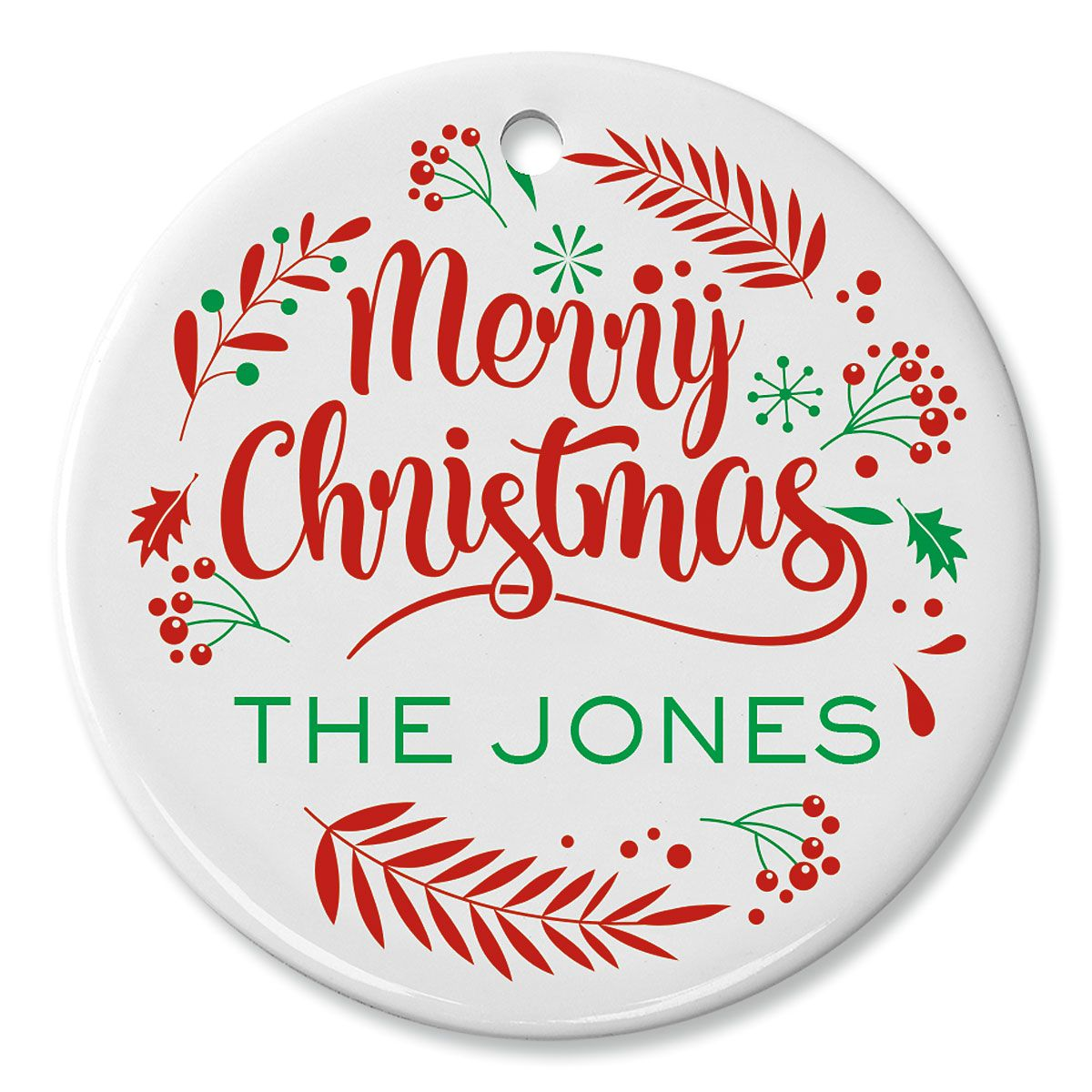 Round Personalized Merry Christmas Ceramic Ornament