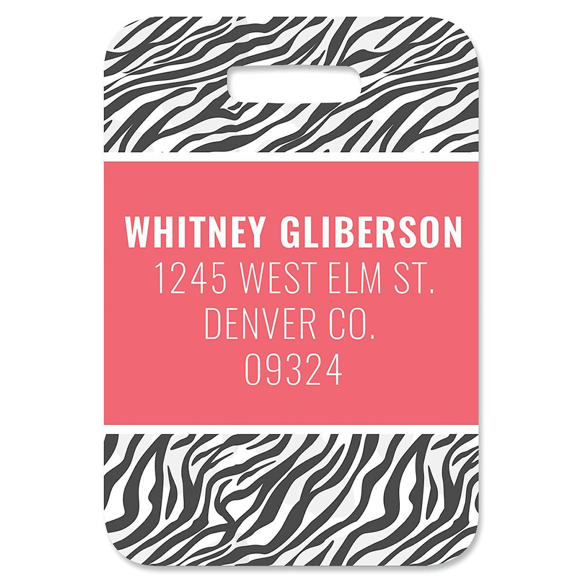 Zebra Print Personalized Luggage Tag