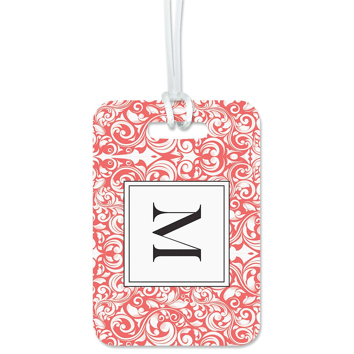 Rose Damask Personalized Luggage Tag