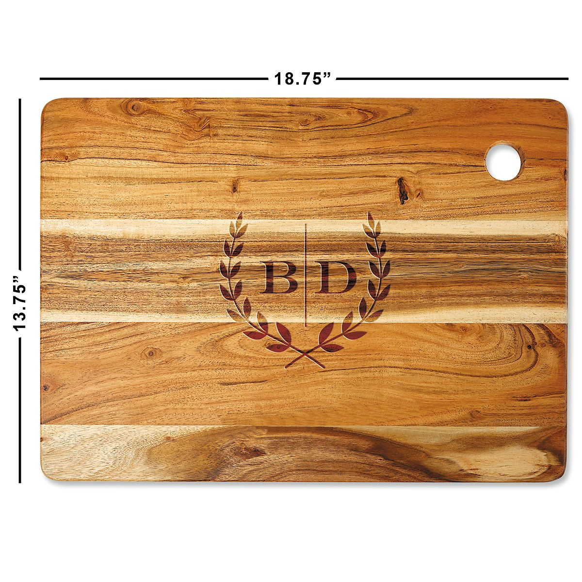 Acacia Laural Initials Engraved Cutting Board