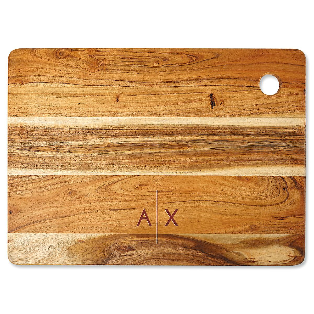 Acacia Divided Initials Engraved Large Cutting Board