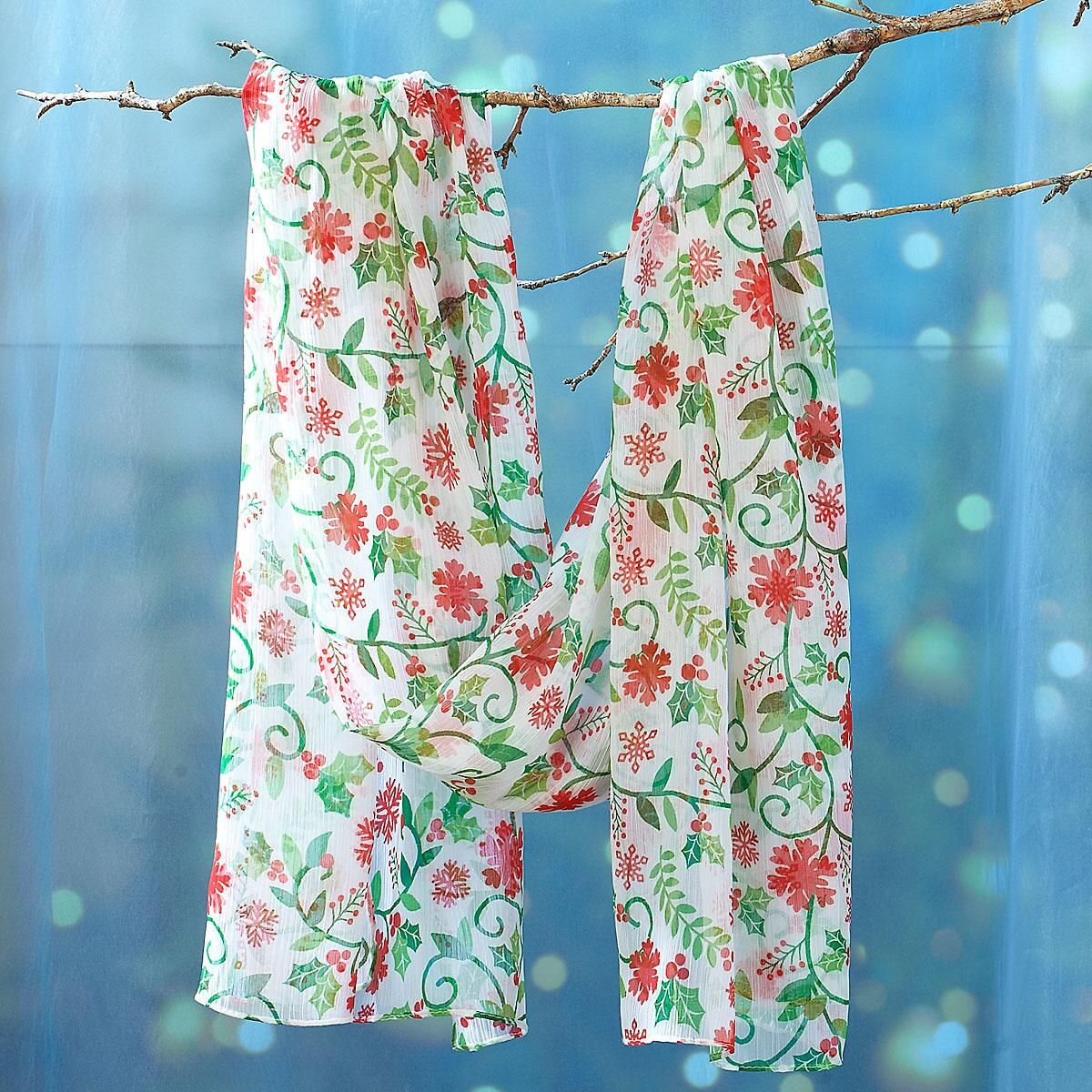 White Holly Print Holiday Scarf