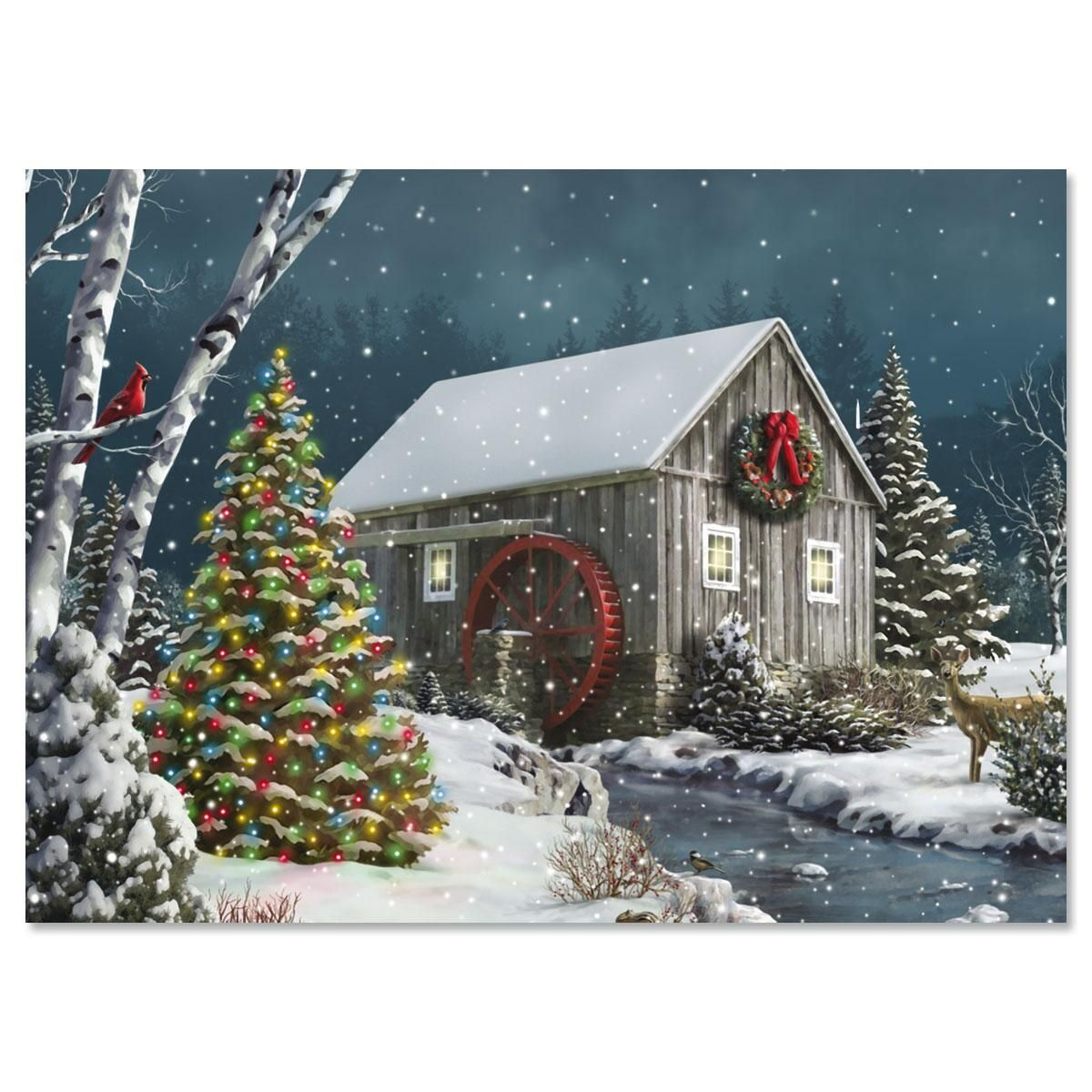 Falling Snow Nonpersonalized Christmas Cards - Set of 18