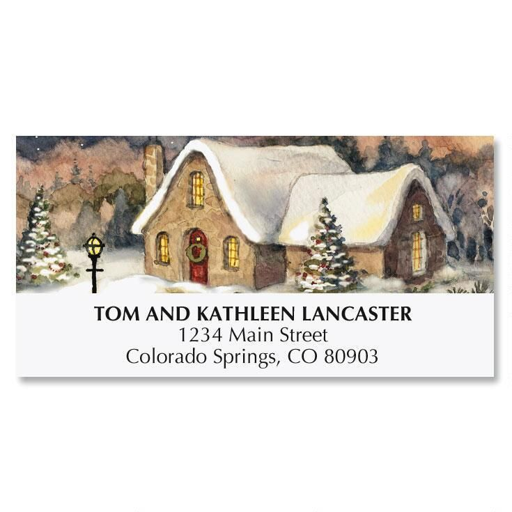 Christmas Cottage Christmas Address Labels