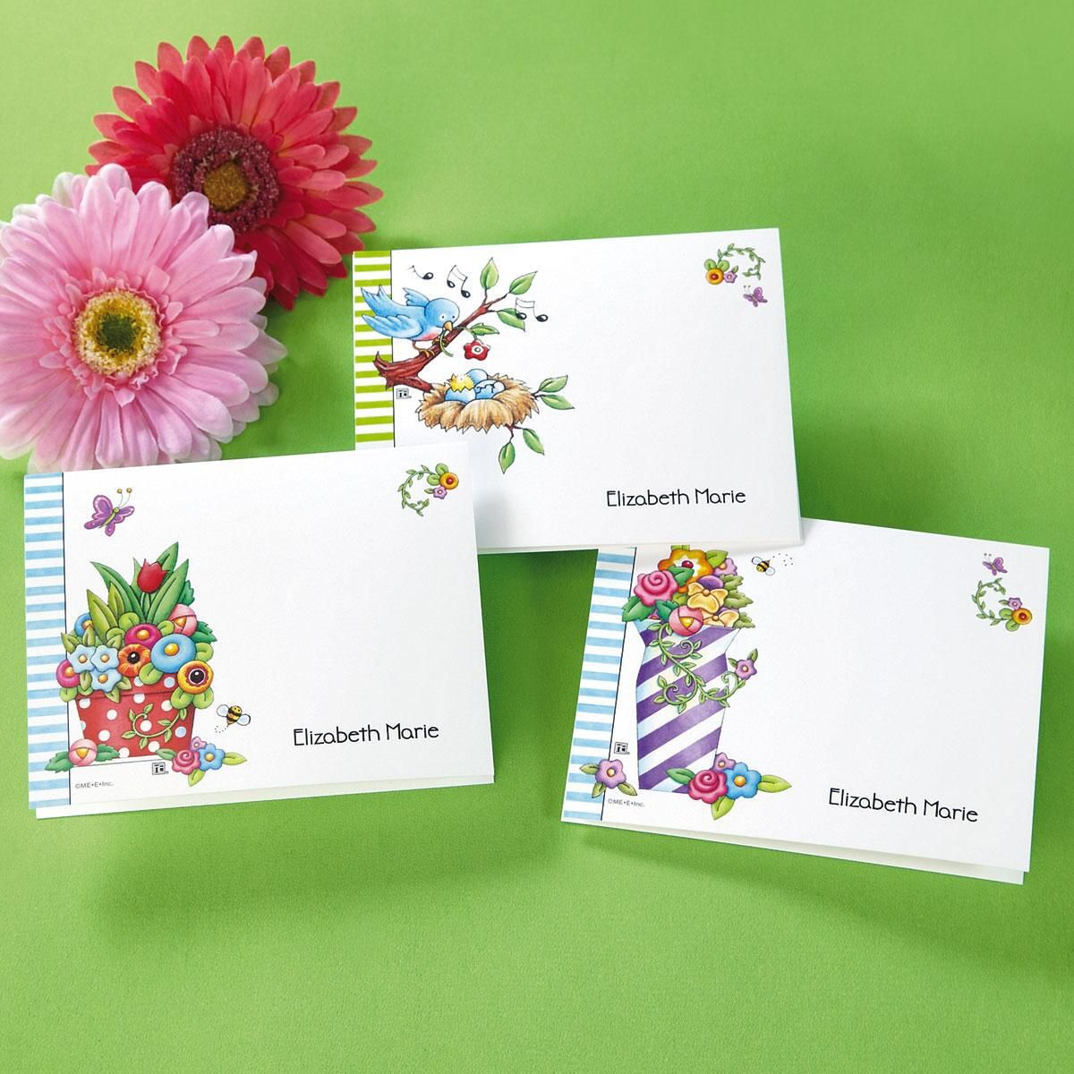 Mary Engelbreit® Floral Personalized Note Cards  (3 Designs)