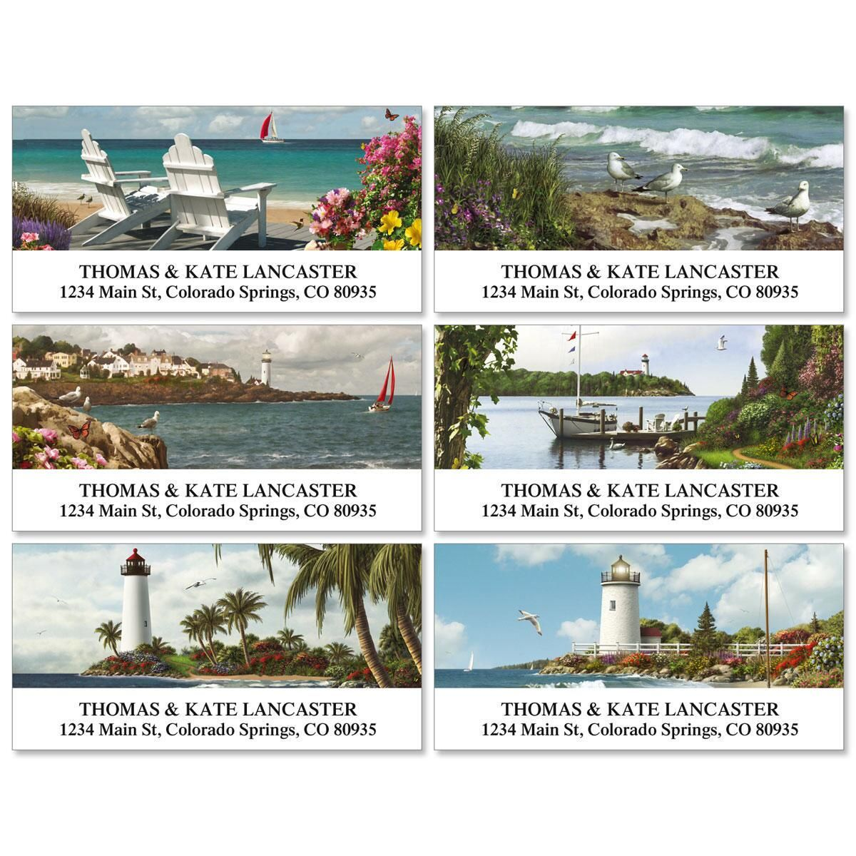 Seashores Deluxe Address Labels  (6 Designs)