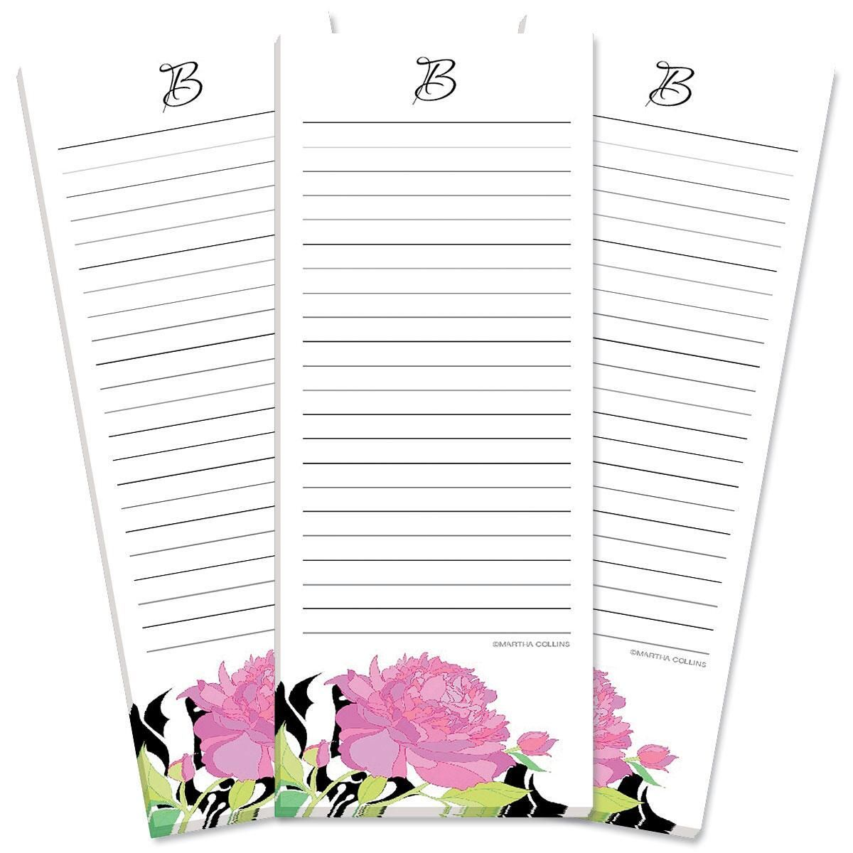Just One Initial Lined Shopping List Pads