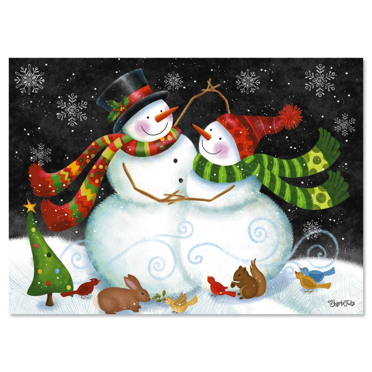 Snow Couple Nonpersonalized Christmas Cards - Set of 18