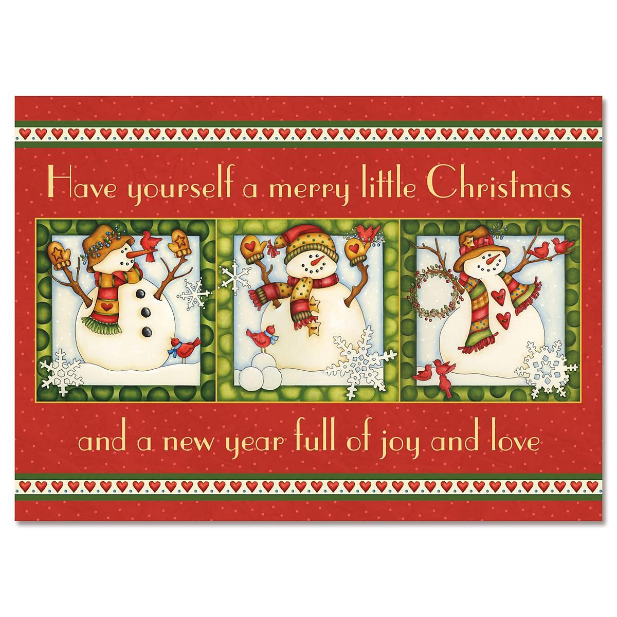 Snowmen in Squares Nonpersonalized Christmas Cards - Set of 18